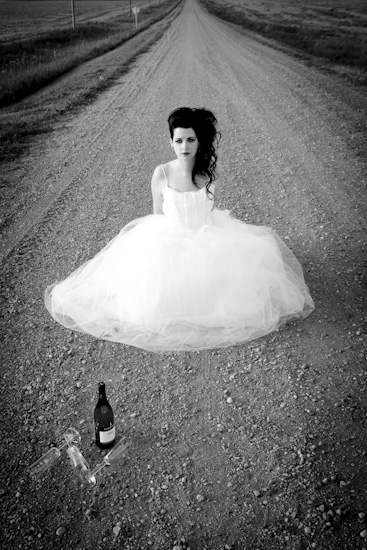 Bride on a gravel road, Manitoba